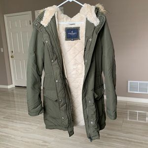 Fur lined army green parka coat with hood